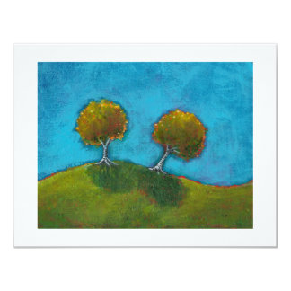 Two trees at dusk evening landscape art painting card