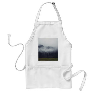 Two trees border shot of misty forest adult apron