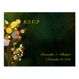 Two Trees in Dark Green Wedding RSVP 4 25x5 6 Post Cards