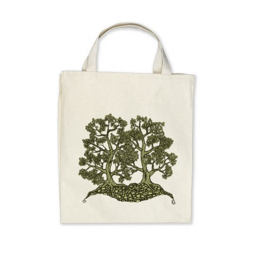 Two Trees intertwined Tote Bags