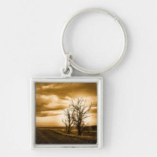 Two Trees Sepia Fields Keychain