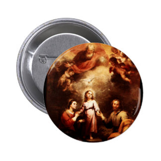 Two Trinities - The Holy Family - Murillo Button