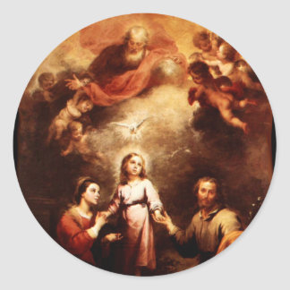 Two Trinities - The Holy Family - Murillo Classic Round Sticker