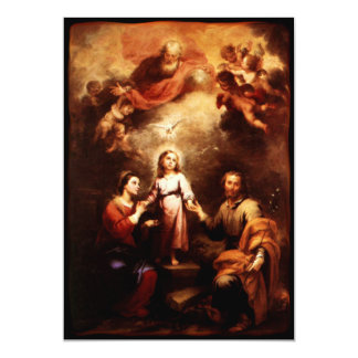 """Two Trinities - The Holy Family - Murillo 5"""" X 7"""" Invitation Card"""
