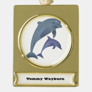 Two Tropical dolphins jumping beside each other Gold Plated Banner Ornament