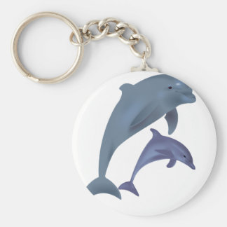 Two Tropical dolphins jumping beside each other Keychain