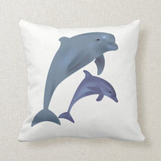 Two Tropical dolphins jumping beside each other Throw Pillow