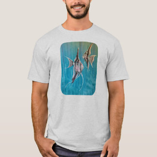 Two tropical fish angels in blue blackground T-Shirt