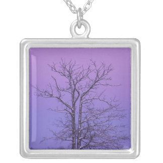 Two Trunked Tree at Sunrise; Chippewa County, Silver Plated Necklace