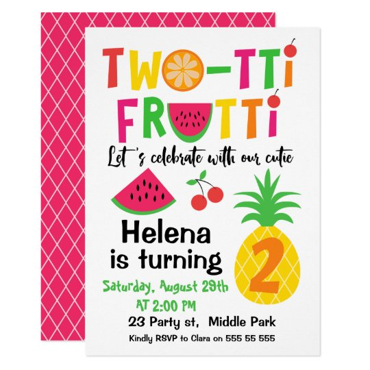 Twotti Frutti 2nd Birthday Invitation for Girl Zazzlecom