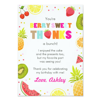 two-tti Frutti Party Fruit birthday Thank You Card