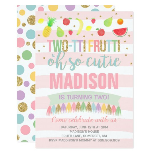 Two-tti Frutti Party Invitation 2nd Birthday Party