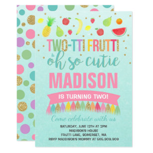 2nd birthday party invitations announcements zazzle two tti frutti party invitation 2nd birthday party filmwisefo Images
