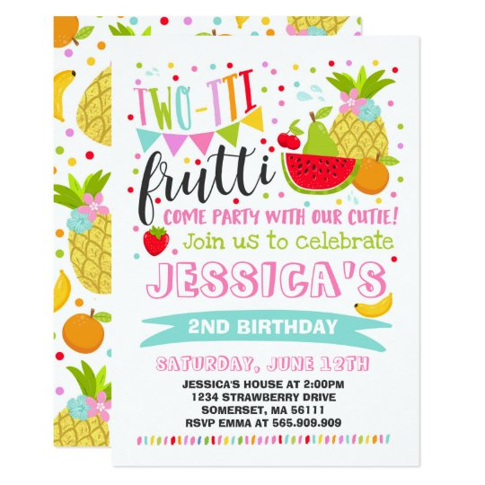 Two Tti Frutti Party Invitation 2nd Birthday