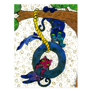 Two Tubby Tabby Cats Swinging From A Tree Postcard