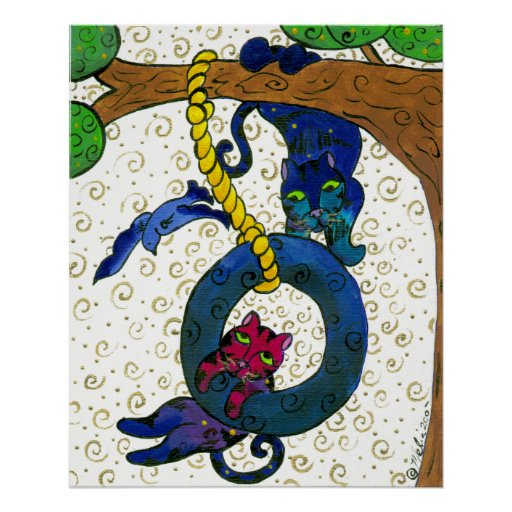 Two Tubby Tabby Cats Swinging From A Tree Poster