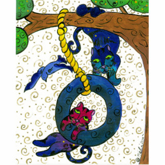 Two Tubby Tabby Cats Swinging From A Tree Statuette