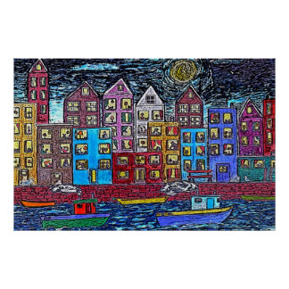 Two Tugboats By Night Poster