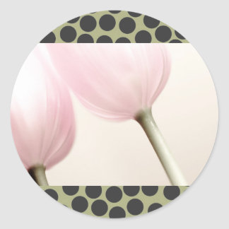 Two Tulips + Polka Dots, template designed Classic Round Sticker