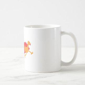 Two turkeys running coffee mug
