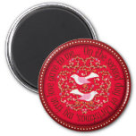 Two turtle doves 2 inch round magnet
