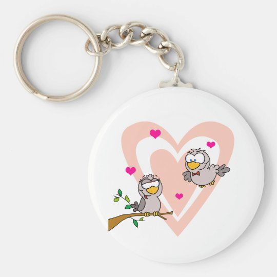 Two Turtle Doves By A Branch Keychain