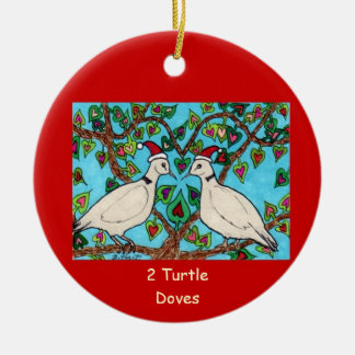Two Turtle Doves Double-Sided Ceramic Round Christmas Ornament