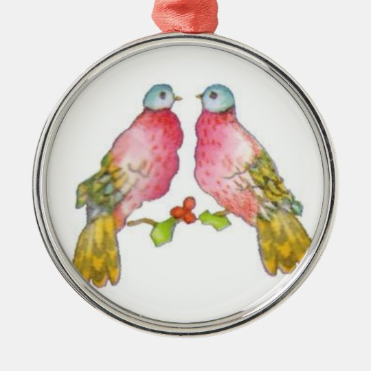 Two Turtle Doves Metal Ornament