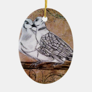 Two Turtle Doves Double-Sided Oval Ceramic Christmas Ornament