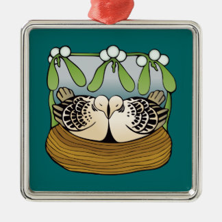 Two turtle doves square metal christmas ornament
