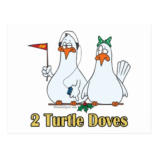 two turtle doves second 2nd day of christmas postcards