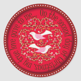 Two turtle doves round stickers