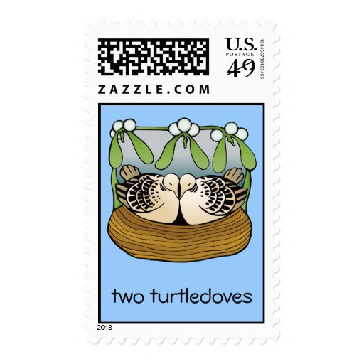 Two turtledoves postage stamps