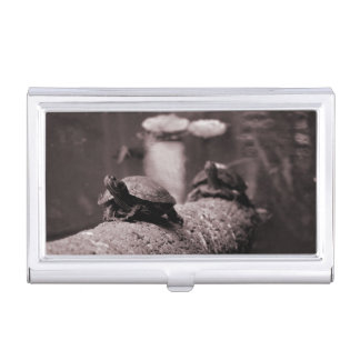 two turtles on palm trunk sepia business card case