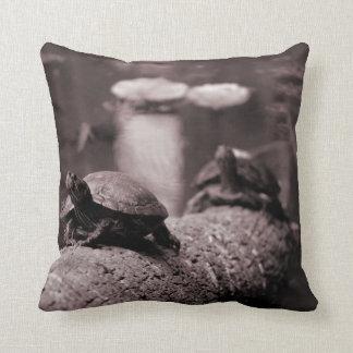 two turtles on palm trunk sepia throw pillow