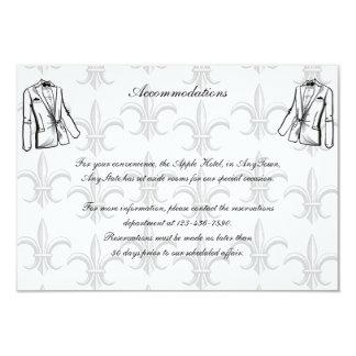 "Two Tuxedo Groom Gay Wedding Insert 3.5"" X 5"" Invitation Card"