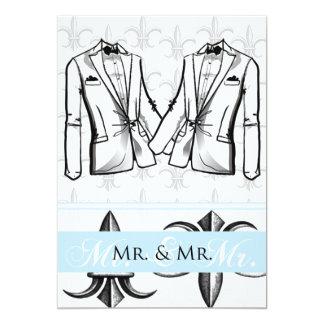 "Two Tuxedo Groom Gay Wedding Invitation 5"" X 7"" Invitation Card"