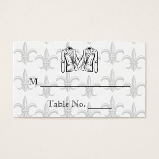 Two Tuxedo Groom Gay Wedding Place Cards