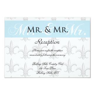 """Two Tuxedo Groom Gay Wedding Reception 3.5"""" X 5"""" Invitation Card"""