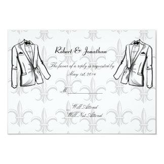 "Two Tuxedo Groom Gay Wedding Response Card 3.5"" X 5"" Invitation Card"