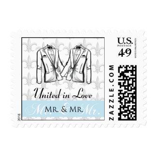 Two Tuxedo Groom Gay Wedding Stamp