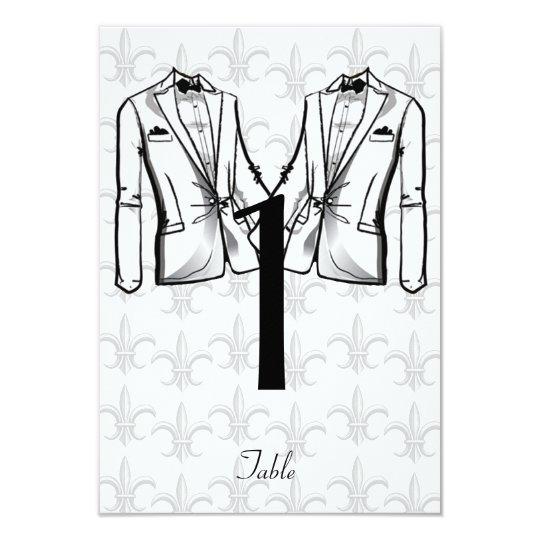 two tuxedo groom gay wedding table number