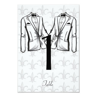 """Two Tuxedo Groom Gay Wedding Table Number 3.5"""" X 5"""" Invitation Card"""