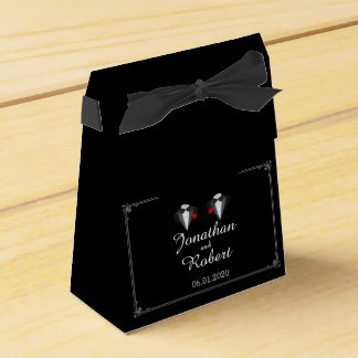 Two Tuxedos with Red Rose Gay Wedding Favor Box