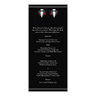 Two Tuxedos with Red Rose Gay Wedding Menu