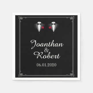 Two Tuxedos with Red Rose Gay Wedding Napkin