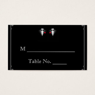 Two Tuxedos with Red Rose Gay Wedding Place Cards