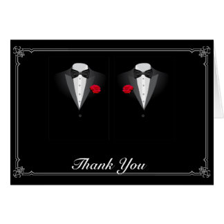 Two Tuxedos with Red Rose Gay Wedding Thank You Card