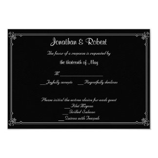 Two Tuxedos with Red Rose Wedding Response Card