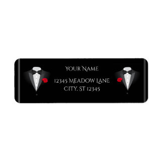 Two Tuxedos with Red Rose Wedding Return Address Label
